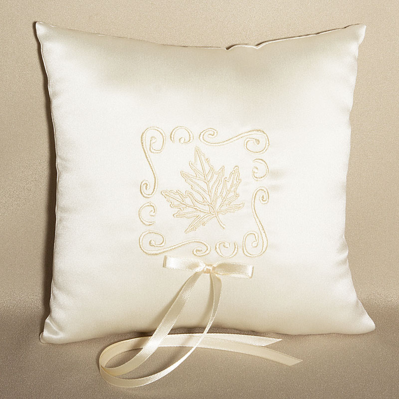 Ivory Leaf Design Wedding Ring Bearer Pillow