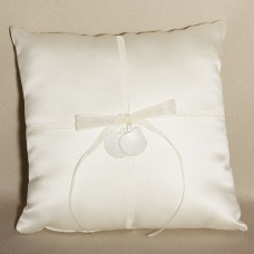 Seashell Design Ivory Wedding Ring Bearer Pillow