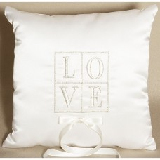 Its All About Love White Wedding Ring Bearer Pillow
