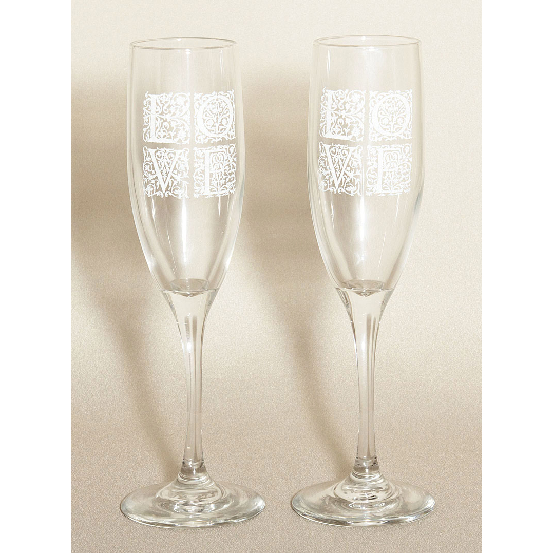 Its All About Love White Wedding Flutes