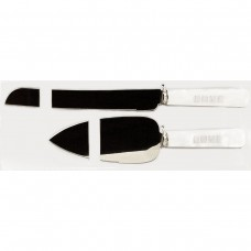 Its All About Love White Wedding Knife Server Set