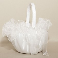Satin Pearls Wedding Flower Basket