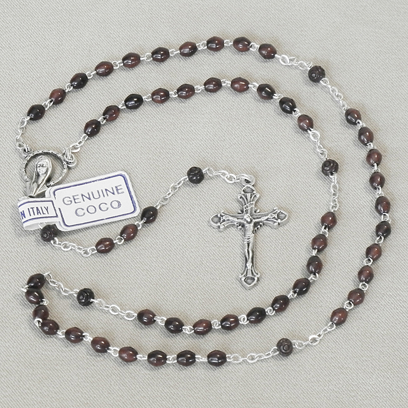Black Coco Beans Rosary Keepsake First Communion
