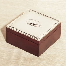 Red Wood Silver Badge Keepsake Box