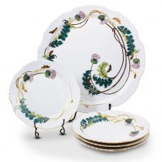 Thistle Design Porcelain Dessert Set – 21 Carat Gold Accent