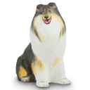 Collie Sitting Porcelain Figurine by Hollohaza