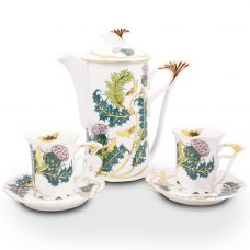 Thistle Design Porcelain Mocca Set – 21 Carat Gold Accent