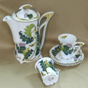 Thistle Design Espresso Set Fine Porcelain Hollohaza