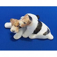 Wire Playing Terriers Porcelain Figurine by Hollohaza