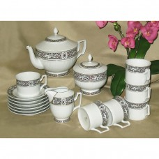 White Lion Tea Set Fine Porcelain Hollohaza