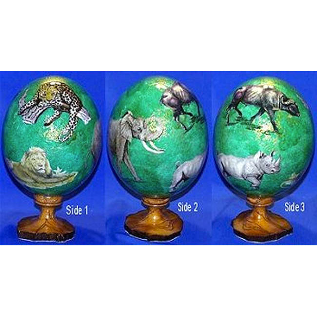 Green African Ostrich Egg on Olive Wood Stand