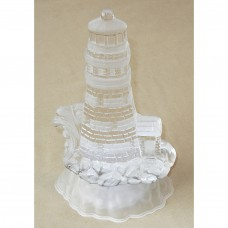 Lighthouse With Lit Up Base Glass Block Figurine
