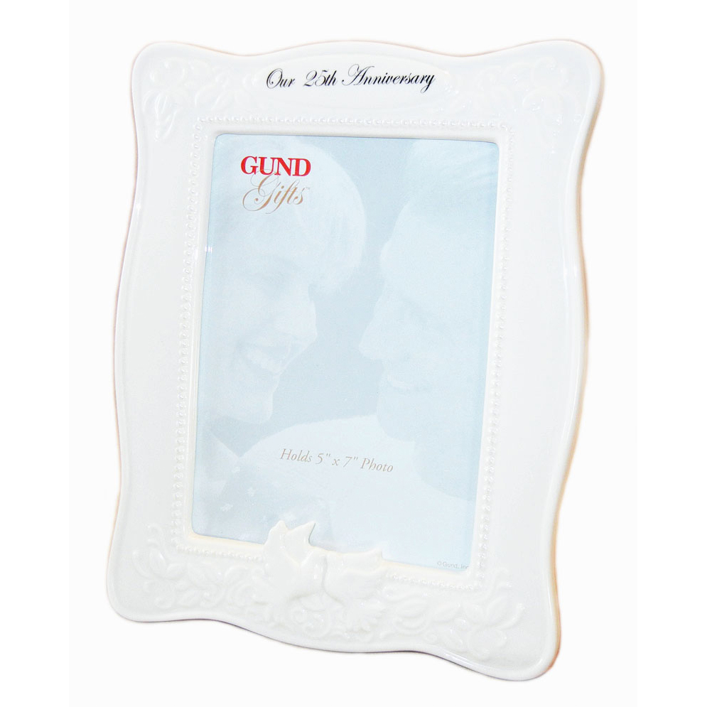 25th Anniversary White Photo Frame