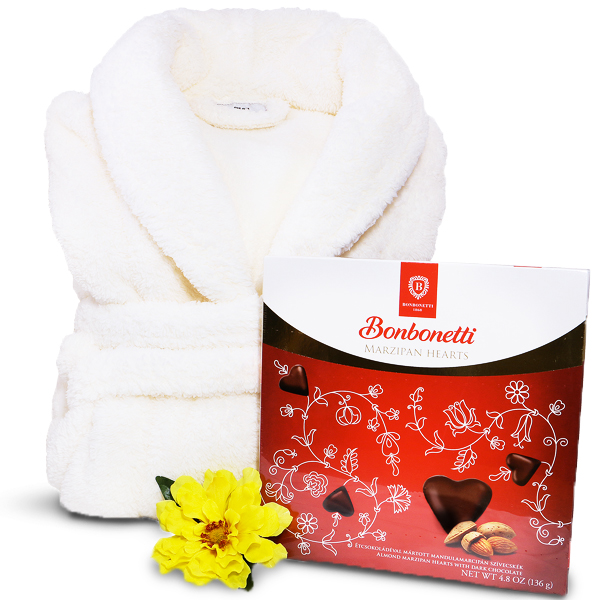 Luxury Treats Warm Buddy Bath Robe and Chocolates