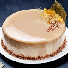 Banana mousse cake with milk chocolate glaze - 8 Inch
