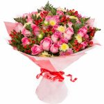 Majestic Day Glowing Pink Roses Opulent Bouquet