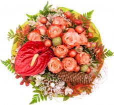 Warmest Holiday Wishes Anthurium And Roses Bouquet