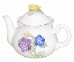 Decorative Teapot - Handmade 3D Pansies