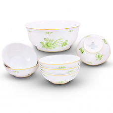 Intersica Hand painted Compote Set Fine Porcelain by Hollohaza