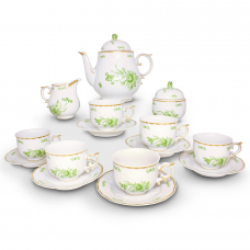 Intersica Tea Set Hand Painted - 21 Carat Gold Accent