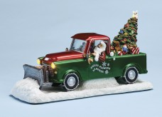 Musical Plow Truck with Santa and Christmas tree