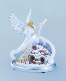 Musical Angel with Town Scene