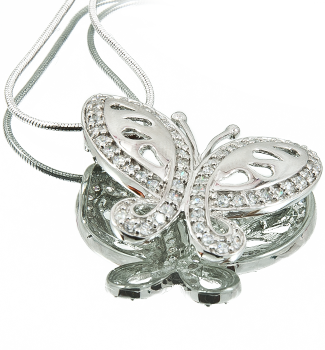 Butterfly Pendant CZ – Sterling Silver 18″ Snake Style Chain