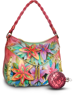 Luscious Lilies Ruched Multi Pocket Hobo Anuschka Handbag