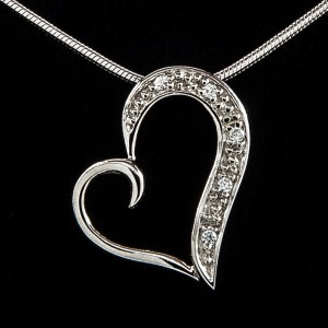"Curling Heart CZ Pendant – 20"" Silver Snake Chain"