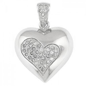 """Silver Heart CZ Embedded Pendant – 20"""" silver chain included"""