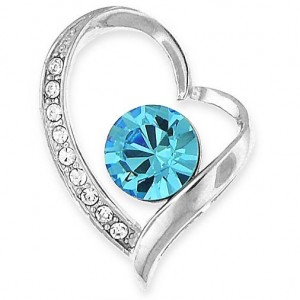 """Heart Pendant with Blue Crystals - 20"""" Silver Snake Chain"""