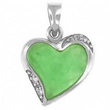 "Silver Heart Shaped Jade Pendant - Silver 20"" chain included"