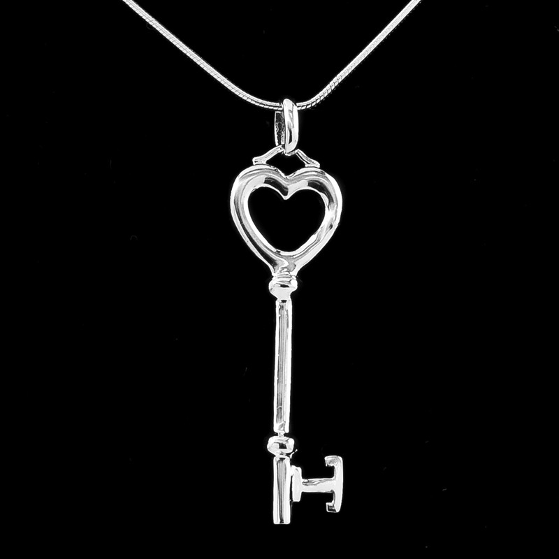"Key of Heart Silver Pendant – 20"" Silver Chain Included"