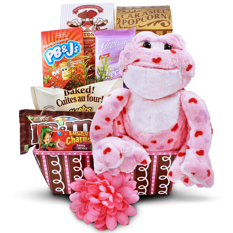 Happy Valentines gift basket with Love frog