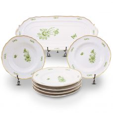 Intersica Oblong Cake Set Hand Painted - 21 Carat Gold Accent