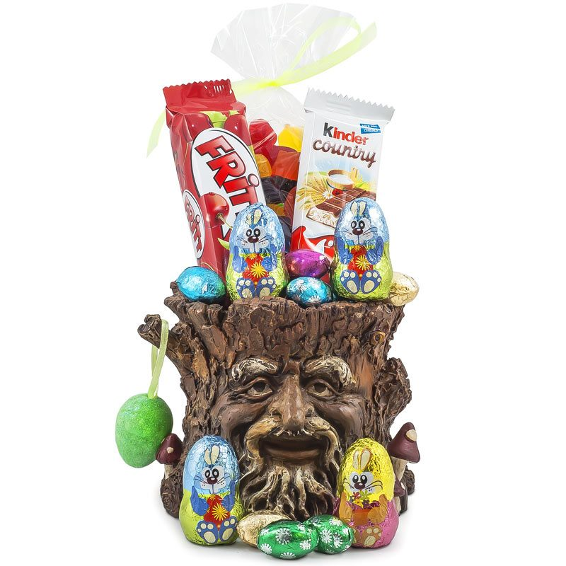 Old Man Tree Trunk Planter Easter Chocolate Treats