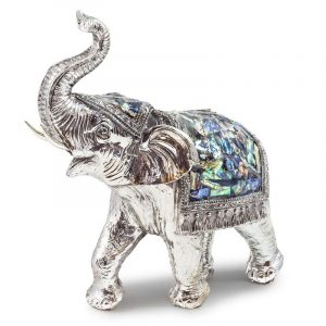Silver Elephant with Mosaic Blanket