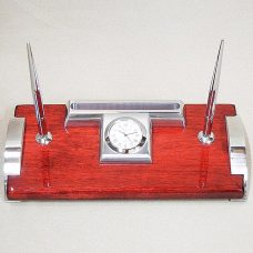 Table Clock Pen & Card Holder Mahogany / Silver - Gifts for Men
