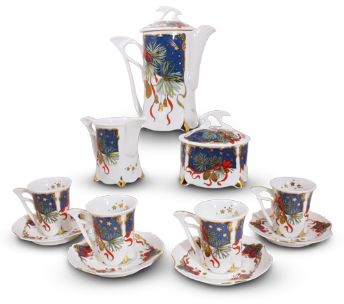 Silent Night Porcelain Mocca Set – 21 Carat Gold Accent