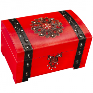 Large Red Trunk with Lock and Key