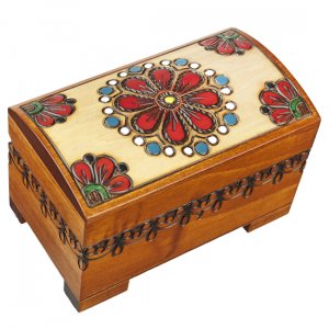 Lovely Flowers Decorative Chest - Lock and Key