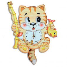 Fisherman Cat Moving Eyes Pendulum Clock