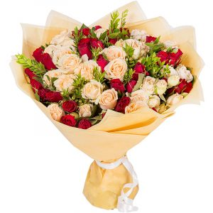 Divine Devotion Six Dozen Peach Red Rose Bouquet