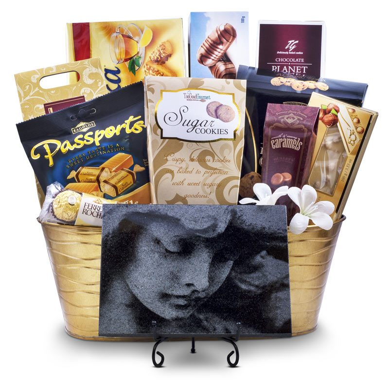 Sympathy Gift Basket with Angel Face Granite Plaque