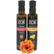Zoë's Amazing Duo olive oil and balsamic vinegar. Fantastic flavors for many recipes.
