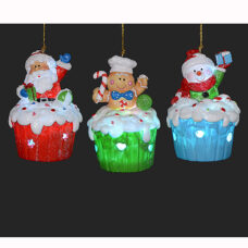Santa Cupcake Ornament - LED