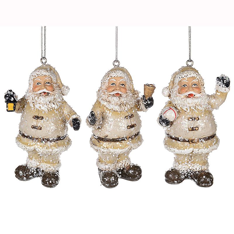 White Santa Ornament