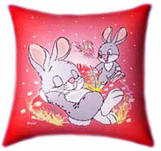 Bunnies Playing Glow In The Dark Pillow